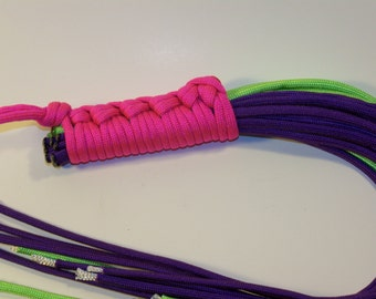 Paracord Flogger Neon Pink Handle Neon Green and Purple Falls Mature