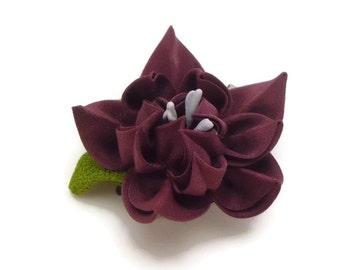 Maroon Flower Hair Clip Brooch, Dark Red Kanzashi Flower, Maroon Flower Fascinator, Kimono Repurposed, Japanese Hair Pin, Gift Ideas #TZ04BC