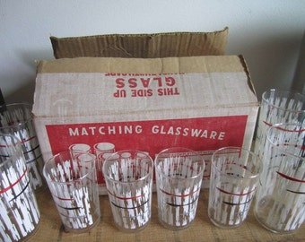Set of eight Anchor Hocking Glasses. Four Drinking Four juice. White wash with fine striped detail. in Original Box. Unused