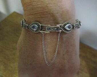 Stunning Vintage Silver Marcasite Teardrop Link Bracelet. Vintage Marcasite Bracelet. Silver Teardrop Link Bracelet