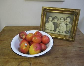 Black and White Enamel Mixing / Fruit Bowl. Rustic Kitchen Bowl. Enamel Bowl. White Enamel Dish