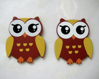 Owl Wooden Ornament for Baby Shower, Party Favors, Craft Project, Zoo, Forest, Jungle, Safari, African Themes, 12 pcs