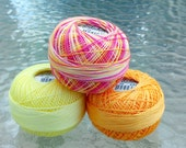 Lizbeth Tatting Thread - Size 20 - Made by Handy Hands - Tropical Punch Three Pack - Colors 615, 132 and 696 - Your Choice of Amount
