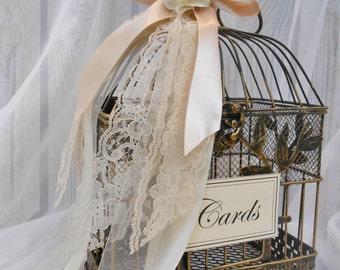 Small Lace Wedding Birdcage Card Holder / Wedding Card Box / Vintage Inspired Wedding Decor / Wedding Card Holder