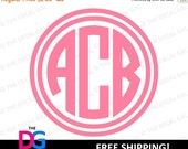"25% OFF SALE - Circle Monogram Vinyl Decal Sticker - 3 Initials - FREE Shipping - 2"" 3"" 4"" 5"" 6"" 7"" 8"" 9"" 10"" 11"" - C3W1"