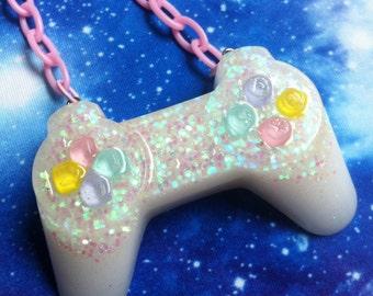 PlayStation Controller Necklace, Gamer, Nerd, Pastel Goth, Soft Grunge