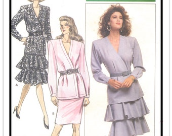 """BUTTERICK Pattern 5933 - Misses' """"Ronnie Heller"""" V-Neck Blouson Wrap Top and Tiered Flounce/Ruffle or Pencil Skirt - Sz 12-14-16 - Vtg 1980s"""