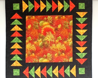 Fall Wall Hanging, Autumn Wall Quilt, Quilted Wall Decor, Table Topper, Black Orange Yellow Green, Table Quilt, Quiltsy Handmade