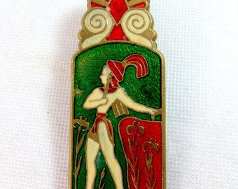 SALE! Art Deco Clip, Egyptian Revival Champleve Enamel On Brass Large Paper Clip 1930s