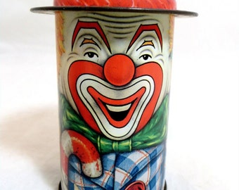SALE! Vintage Clown Tin, Retro Creepy/Comical Cap-Tins Daher English Figural Character Clown Tin 1970s
