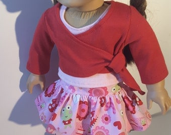 18 Inch Doll Clothes Valentine 3pc SKIRT Wrap Shrug Tank