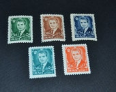 5 Mint stamps of Iran The Shah 1954