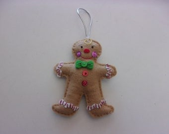 "Handmade Bucilla Felt Ornament GINGERBREAD 5"" x 3 3/4"""