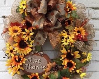 Give Thanks Autumn, Fall, Thanksgiving Jute Mesh Grapevine Wreath