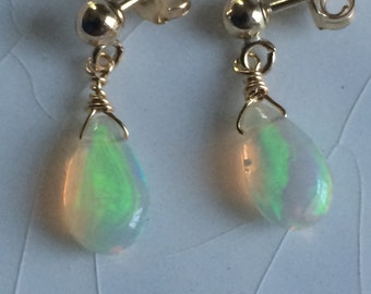 Free Shipping - Small Smooth AAA+ Grade Welo/Fire Opal Pear/Briolette Drop Gold-Filled Stud Earrings