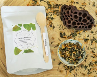Divine Serenity Organic Peppermint, Chamomile & Calendula Herbal Tea Blend 20g pack