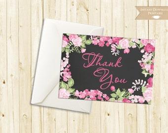 Cottage Chic Chalkboard Thank You Vintage Floral Rose Printable INSTANT DOWNLOAD