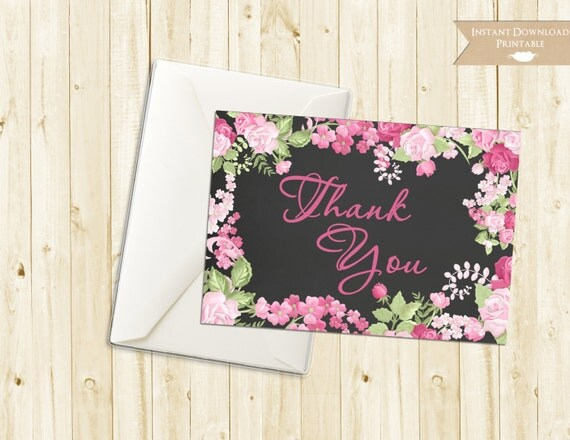 Cottage Chic Chalkboard Thank You Vintage Floral Rose Printable INSTANT DOWNLOAD
