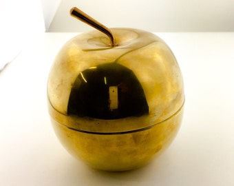 Vintage large brass apple dish with lid - big apple box, solid heavy brass quality, mid century, apple container
