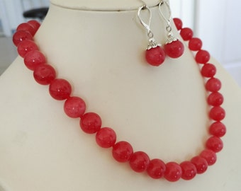 jewelry set- 12mm red jade necklace & earring set