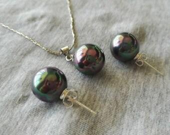 earring pendant set, peacock green earring & pendant, shell pearl earring pendant