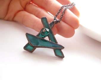 Stained glass pendant, contemporary jewelry, gift for women, emerald green pendant, bohemian jewelry, statement necklace, Soulflower