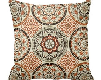 Outdoor Pillows, Orange Outdoor Pillow, Neutral Outdoor Pillow, Outdoor  Pillow Cover, Brown