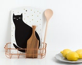 Cat Cutting board, black cat, illustration by Depeapa, cat lover, illustrated cutting board, modern style kitchen, gift, kitchen decor