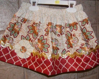 Fall Gold..Girls Skirt, Twirl skirt. Available in 0-12 months, 1/2, 3/4, 5/6, 7/8, 9/10 Bigger Sizes Available