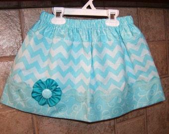 Girls skirt,  Infant skirt, toddler skirt, Custom..Blue N Blue Chevron..sizes 0 to 10
