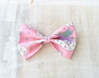 Pretty pastel pink Unicorn rainbow cloud hair bow Kawaii pin up