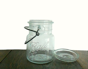 Vintage Ball Jar Clear Ideal Jar with Lid, Seal, and Wire Bail Closure - Storage and Decor Item