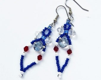 PATRIOTIC- Long Dangle Handwoven Beaded Earrings- Seed Beads and Sparkling Crystals- Stainless Steel Earwires