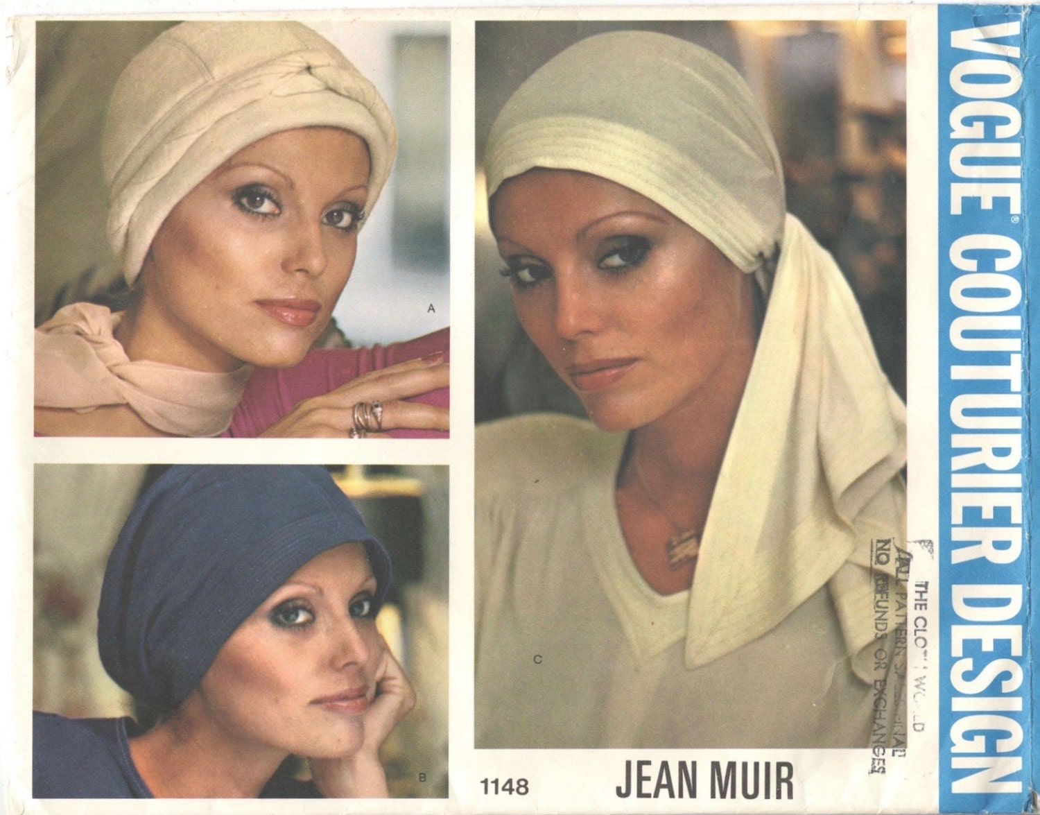 1970s Jean Muir hat and scarf pattern Vogue 1148
