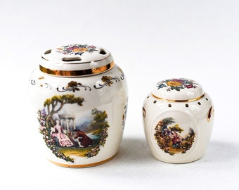 Antique Porcelain Jar and a Shaker Very Beautiful Great Addition to Your Collection or a Great Gift