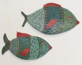 ceramic wall art; set of two ceramic fish; ceramic art; ceramics and pottery