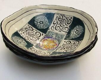 set of 2 porcelain ceramic bowls; ceramics and pottery; hand built pottery; ceramic cereal/salad bowls