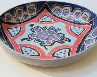 ceramics and pottery serving bowl; pasta bowl;hand carved pottery; ceramic bowl