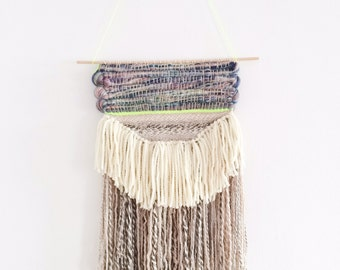 Weaving wall hanging roving off white, brown yellow, neon yellow decoration - One of a kind