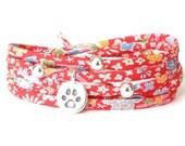 Pet memorial gift, paw print bracelet, gift for dog lover, cat lover bracelet, man's best friend wrap bracelet with Liberty fabric