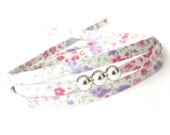 Sweet gift for tweens, cute bracelet with pastel floral fabric, teen girl fashion, Liberty fabric cord bracelet with silver focal beads