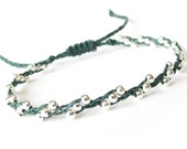 Skinny silver bead bracelet, braided Irish waxed linen cord bracelet for layering, jewellery gift for women, MirasBeadBoutique
