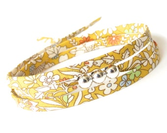 Cute gift for best friend, cheerful sunflower yellow Liberty fabric bracelet with silver beads, yellow wrap bracelet for summer