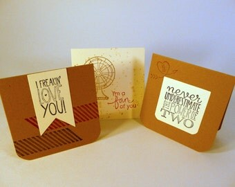 Mini Note Cards, set of 3, love notes with envelopes, masculine cards, lunchbox notes, unisex love notes, hand stamped cards