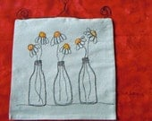 Daisies in Vases Banner Thread Sketching Whimsical Wall Hanging  Machine Scribble Embroidery Appliqued Flag OOAK Canvas Primitive Wall Art