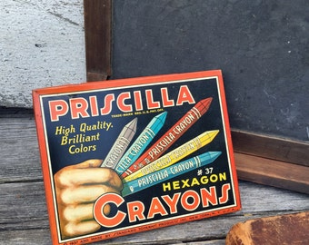 Vintage Priscilla Crayons - Dated 1937 - Standard Toykraft Products
