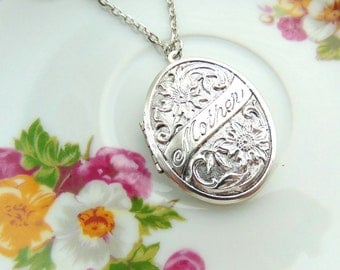 Locket Mother Floral Design Antique Silver Handcrafted by TheTown Tinker