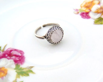 Moonstone Crown Setting Antique Silver Ring Adjustable Ring Handcrafted by TheTown Tinker