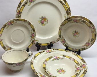 Edwin M. Knowles China  7 piece set Company Made in USA 41-3 Yellow Band With Purple and Black Pink Roses