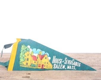 1950s Salem Mass  House of Seven Gables Pennant / Vintage Felt Pennant / Pennant Banner / Pennant Flag / Green Pennant / Wall Pennant Decor